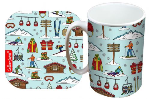 Selina-Jayne Skiing Limited Edition Designer Mug and Coaster Set